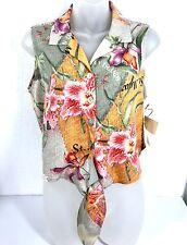 Caribbean Joe Hawaiian Crop Top Multicolor Sleeveless Silk Blend Petite PM