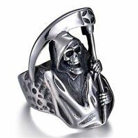 Grim Reaper Skull Ring Biker Silver Mens Devil 316L Stainless Steel Sizes 7-13