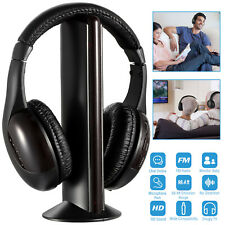 5 in 1 Over-Ear Wireless Headphones Headsets Mic for Pc Tv Cd Mp3 Mp4 Cordless