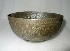 Antique Old Collectible Hand Carved Rare Embossed Flower Design Copper Bowl Pot