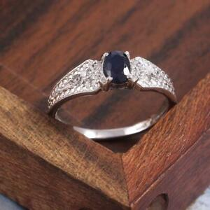 925 Blue Sapphire Band 1.1 Ct Sapphire Men Ring Silver Sapphire Anniversary Band