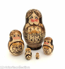 RUSSIAN CHURCH WOOD Hand carved Hand painted NESTING DOLL Christmas set
