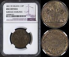 ST. HELENA HALF PENNY 1821 (NGC UNC) *PREMIUM QUALITY*