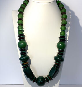 Antique Green Venetian Glass African Trade Bead Necklace