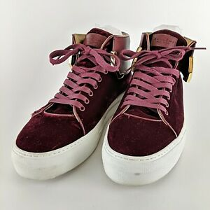 BUSCEMI Burgundy Velvet w/ Gold Detail Italian Designer Leather Sneakers Size 45