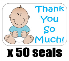 """50 Baby Boy Shower Thank You Envelope Seals / Labels / Stickers, 1"""" x 1.5"""""""