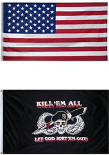 3x5 Usa Flag American Flag Kill'em All Let God Gift Set Premium 2 Flag Set
