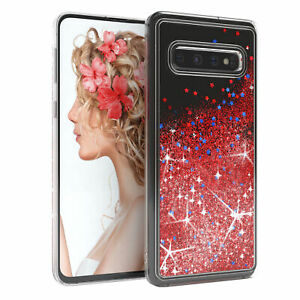 For Samsung Galaxy S10 Glitter Case Liquid Silicone Skin Phone Cover Soft Red