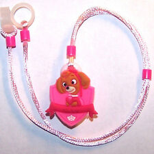 Children's Hearing Aid safety Leash RETAINER CORD CLIP for 2 H.A.'s ..PINK DOG