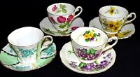 Royal Standard England Bone China 4 Cups & Saucers Set #3 - Florals
