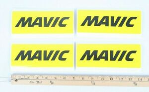 """4 Pack Mavic Stickers / Decals 7 x 2 1/2"""" Perfect for Toolbox YELLOW FRANCE"""