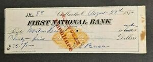 ANTIQUE 1876 FIRST NATIONAL BANK OF CHILLICOTHE OHIO $35 CHECK!-d4029ttt