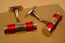 Enamel Silver Plated Oval Cufflinks for Men