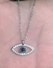 Authentic Signed Swarovski Necklace with Charms Pendant Crystal Eye