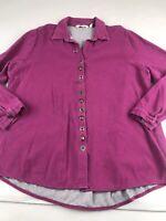 Soft Surroundings Plus Size 1X Sydney Shirt Tunic Top Long Sleeve Purple Button