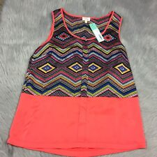 NWT Pixley Stitch Fix Palacio Scoop Neck Tank Top Coral Multi Colored Sz S