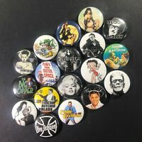 "Rockabilly 1"" Button Pin Set 50's Nostalgia Pin Up Rat Fink Elvis Betty Page"