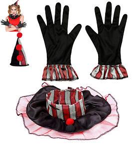 3 tlg. Clown Verkleidungsset Minihut Kragen Handschuhe Damen Herren