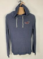 MENS HOLLISTER SIZE SMALL BLUE JUMPER LONG SLEEVE THIN HOODIE PULL OVER SWEATER