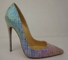 Christian Louboutin So Kate 120 mm Striped Glitter Red Blue Pumps Heels Size 37