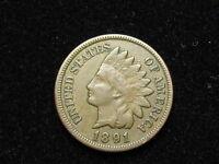 BEAUTIFUL EXTRA FINE 1891 INDIAN HEAD CENT PENNY w/ FULL LIBERTY & DIAMONDS #66A