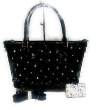 Large Black Flower Beach Purse Messenger Handbag Shoulder Bag Tote + Mini Wallet