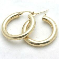 "Vintage 14k yellow gold hoop earrings 1"" diameter high polish Estate"