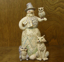 "Jim Shore Heartwood Creek #4053688 WHITE WOODLAND SNOWMAN, ""Kindred Spirits"""