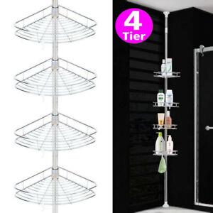 4 Tier Telescopic Bathroom Corner Shelf Rack Bath Caddy Storage Organiser Tray