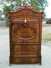 Feathered Walnut Victorian Abbatant Secretary 19 Century~Signed