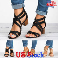 Women Knit Chunky Block Low Heel Zip Sandal Ankle Strap Shoes Party Dress Casual