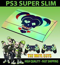PLAYSTATION PS3 SUPER SLIM HARLEY QUINN SUICIDE SQUAD SKIN STICKER & 2 PAD SKINS