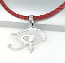 Udjat Pendant Braided Red Leather Necklace Silver Egypt Eye of Horus Wadjet