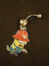 Minion Fireman  Belly Ring Navel Ring 14G Surgical Steel Dangle