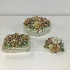 3x Florentina Italy Ceramic Floral Relief Trinket Boxes and Candle Holder #404