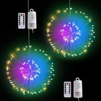 120 LED Battery Hanging Starburst Firework String Fairy Light Remote Decor X mas