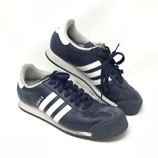Adidas Samoa Men's 11 Blue Leather Lace Up Fashion Sneakers Shoes Striped