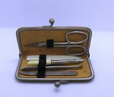 Vintage 1940s 1950s Black Tapestry 5 Piece Manicure Kit Made in Germany