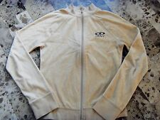 ladies XS DKNY ACTIVE WEAR VELOUR JACKET zipper TAN logo FALL SPRING track BROWN