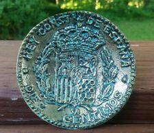 "Metal 1879 SPANISH COIN replica DISH TRAY 3.75"" 10 centimos SPAIN"
