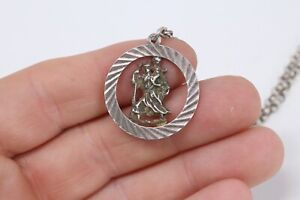 Amazing Vintage Sterling Silver 925 St Christopher & Large Belcher Chain #258