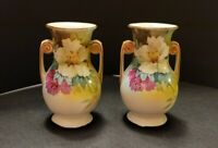 Rare Vintage Noritake Nippon Pair of Small Vase Urns With Some Moirage on Handle