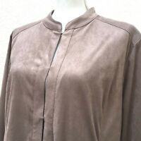 CHICO'S Womens Jacket Size 3 XL 16 Lined Taupe Hook Eye Closure Blazer Pockets