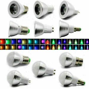 1/4X E27 E14 GU10 MR16 B22 3W LED RGB Colour Changing Light Bulb Lamp w/ Remote