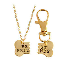 Dog-Human best friends collar bone charm necklace gold alloy