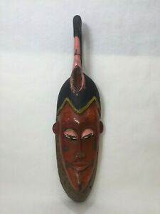"""Vintage Large Handcarved & Painted African Wooden Mask, 28"""" Tall x 7"""" Widest"""
