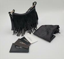 Yves Saint Laurent La Boheme Fringe Black Leather Suede Small Shoulder Handbag
