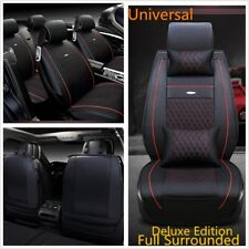 Comfortable PU Leather Car Seat Cover Set With Pillows Black&Red EMB Process