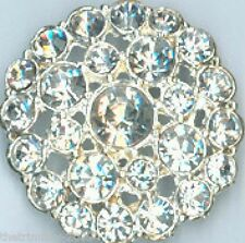 Silver Crystal Clear Diamante Buttons 34mm For ,Wedding, Bridal, Costume,Craft
