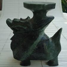 Dragon Sculpture Asie Originale Marbre Vert  Brûle Encens 12x10x5 Cm - 550 Grs